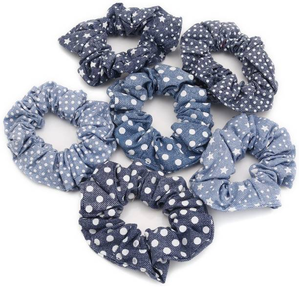 Sukkhi Lavish Hair Rubber Denim Fabric Scrunchies Band Hair Accessories for Women and Girl (Pack of 6) (Size: L) Rubber Band