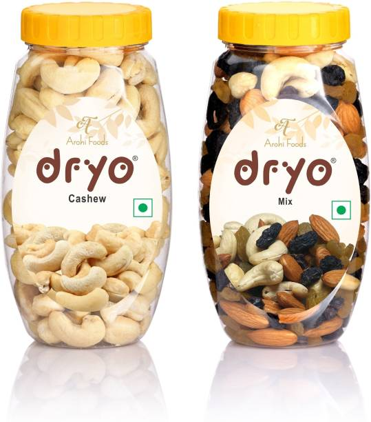 dryo Natural & Organic Combo Pack of Delicious Mix Dry Fruits 220 gm Mixture Of Almonds Black Raisin Cashew Raisin & Cashew 220 gm (440 gm) Assorted Fruits & Nuts, Cashews
