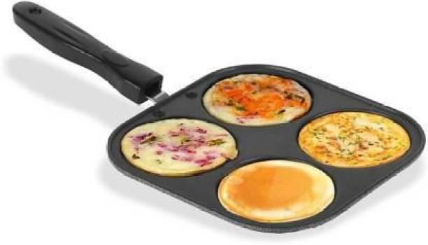 Hriday Nonstick Grill Mini Uttapam Tawa/Multi-Snack Maker 4 in 1 (Black) - Mini Pancake Maker, Mini Crepe pan, Idli pan, Pancake Moulds Pancake Pan 23 cm diameter (Aluminium, Non-stick) Fry Pan 19 cm diameter