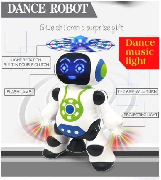 Vcart Dancing Robot with Music, 3D Flashing Lights, Dancing Naughty Robot for Kids, Battery Operated,360 Degree Rotation