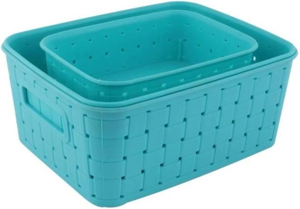 xenith Multipurpose Premium Baskets Set for Storing or Organising, Which Can Be Used As Fridge Basket   Kitchen Baskets   Fruits Basket   Cosmetics Basket   Almirah Basket, (Set of 3, Sky Blue) Storage Basket