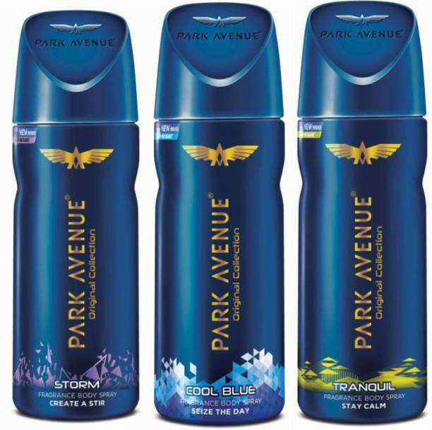 PARK AVENUE 1 Storm and 1 Cool Blue and 1 Tranquil Deodorant Combo for Men (Pack of 3) Deodorant Spray  -  For Men