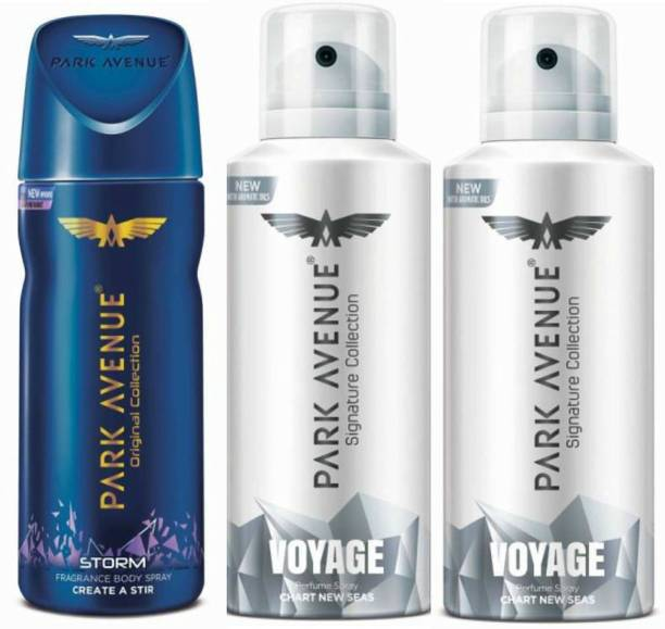 PARK AVENUE One Storm, Two Voyage Signature Deodorant Combo for Men(Pack of 3) Deodorant Spray  -  For Men
