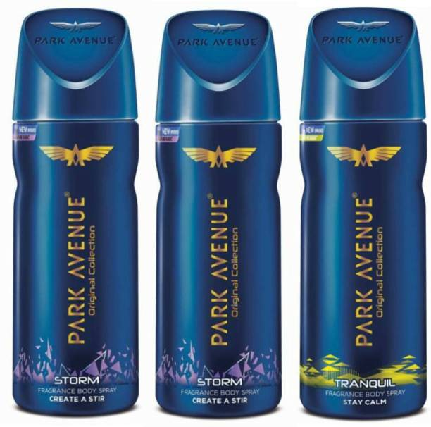 PARK AVENUE 2 Storm and 1 Tranquil Deodorant Combo for Men (Pack of 3) Deodorant Spray  -  For Men