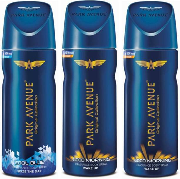 PARK AVENUE 1 Cool Blue and 2 Good Morning Deodorant Combo Pack of 3 Deodorant Spray  -  For Men