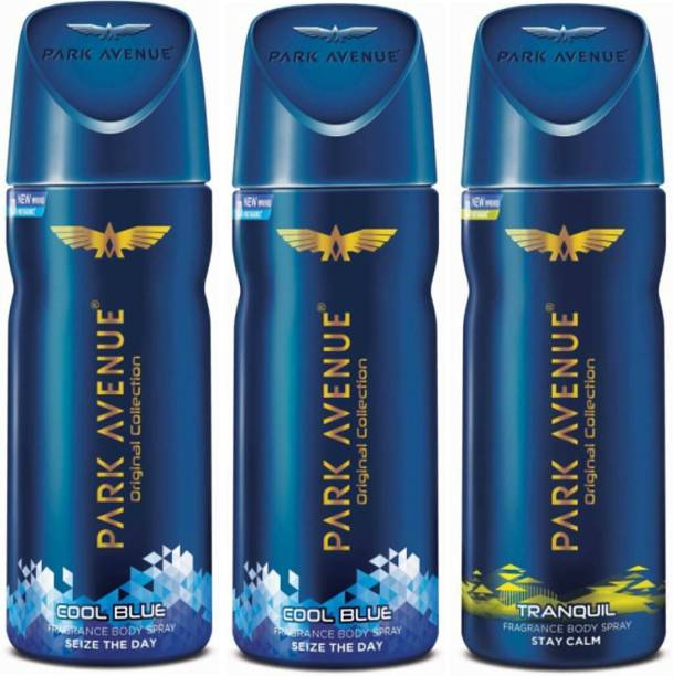 PARK AVENUE 2 Cool Blue and 1 Tranquil Deodorant Combo Pack of 3 Deodorant Spray  -  For Men