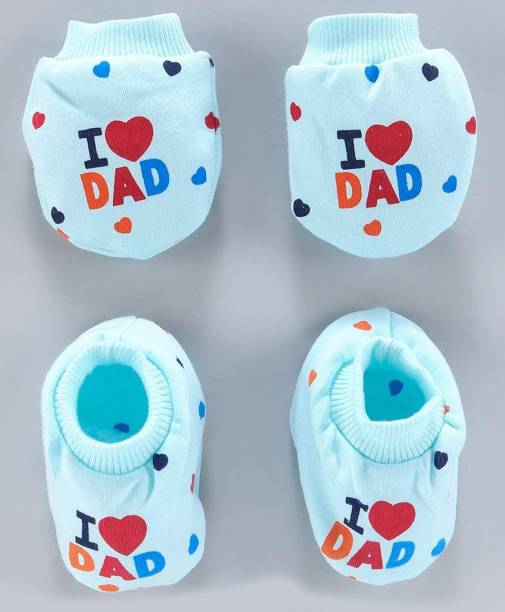 Cuteably Baby Mittens & Booties Set I Love Dad & Mom Print (0-12 Months)