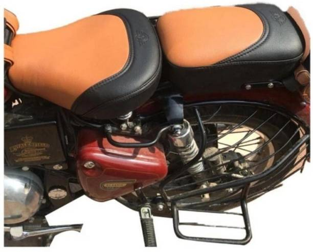 KOHLI BULLET ACCESSORIES Stylish seat cover Black & Tan For Royal Enfield Classic , Classic 350cc , Classic 500cc , Classic Chrome , Classic Desert Storm Split Bike Seat Cover For Royal Enfield Classic Chrome, Classic Desert Storm, Classic 350, Classic, Classic 500