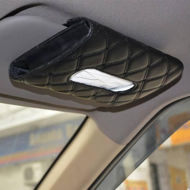 AutoFurnish 7D Car Sun Visor Tissue Holder Box with Free Tissues (Black) Vehicle Tissue Dispenser