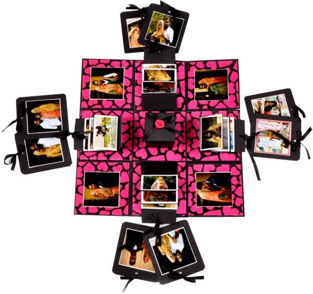 Crafted with passion Crafted With Passion pink and black Explosion Box for birthday ,Explosion box for anniversary love DIY photo album Greeting Card