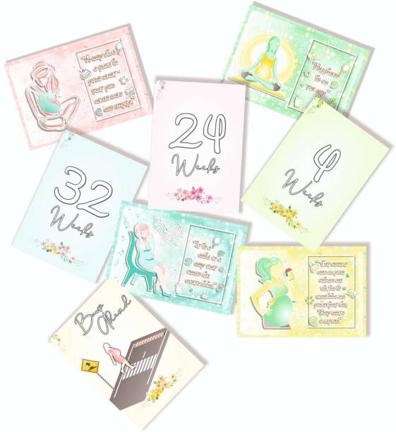 Vantagekart Pregnancy Milestone Cards - Pregnancy Reveal - Pregnancy Gift - New Mom Gift - Pregnancy Photoshoot Cards -(Paper, A5 Size, 21 x 14.8 x0.1 cm, Multicolour) -Set of 16 Cards With 32 Designs Greeting Card
