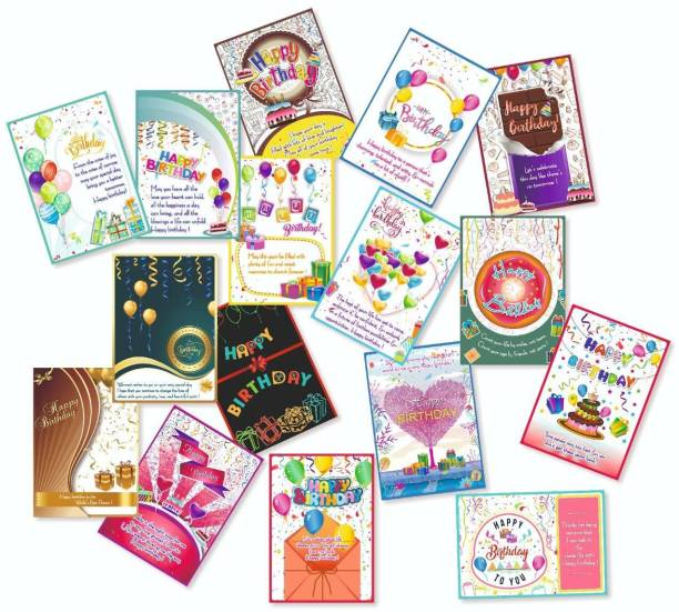 Vantagekart Happy Birthday Greeting Cards for Brother/Sister, Husband/Wife, Mother/Father, Friend -(Paper, A5 Size, 21 x 14.8 x0.1 cm, Multicolour) -Set of 16 Cards Greeting Card