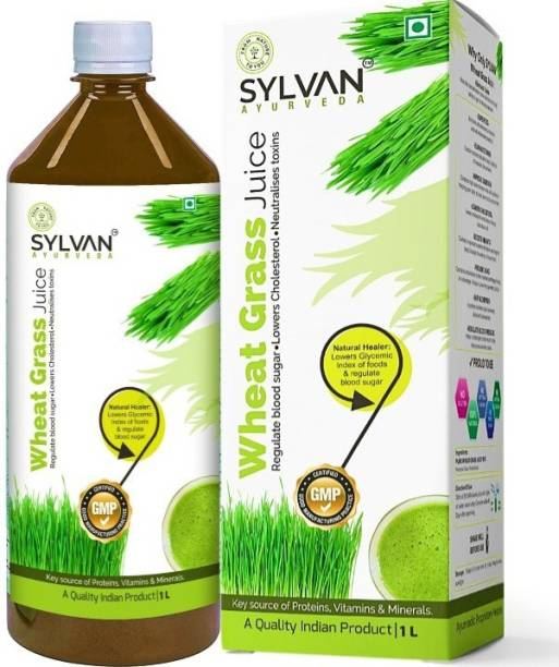 SYLVAN AYURVEDA SYLVAN Wheatgrass Juice 1L   Effective for Detoxification   High Chlorophyll, Fresh Sprouted Premium Wheatgrass   No Added Artificial Flavours I Gluten Free I