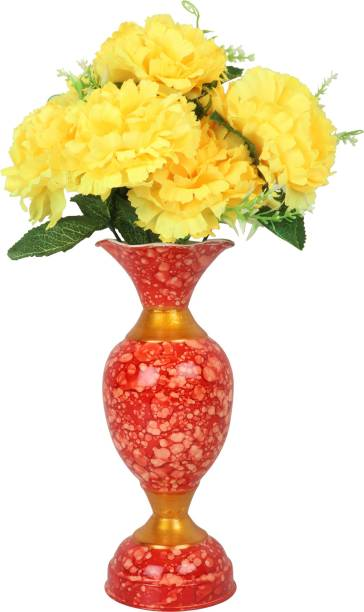 BS AMOR Beautiful Artificial Yellow Flower Bunch with Red Metal Vase Flower Pot for Home Decor (Pack of 1) Iron Flower Basket