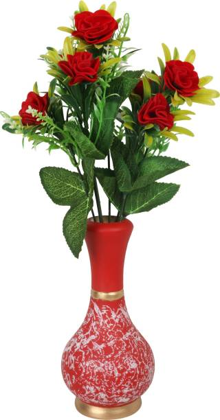 BS AMOR Beautiful Artificial Red Flower Bunch with Pink Vase Flower Pot for Home Decor Pink Colour (Pack of 1) Wooden Flower Basket
