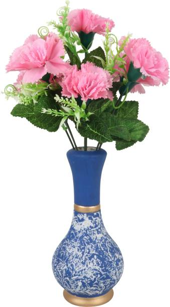 BS AMOR Beautiful Artificial Pink Flower Bunch with Blue Vase/Flower Pot for Home Décor Blue Colour (Pack of 1) Wooden Flower Basket