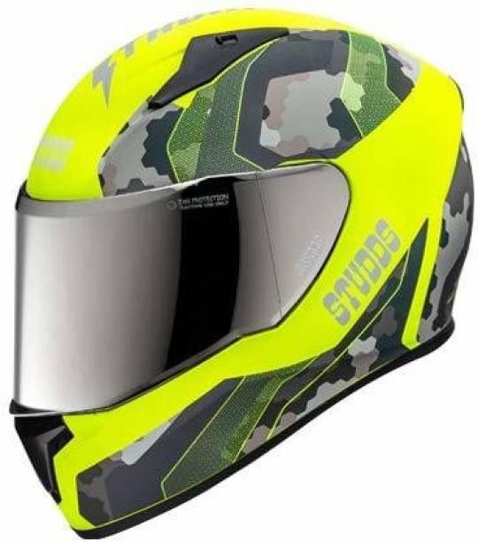 STUDDS THUNDER D5 MATT NEON YELLOW VISOR N5 YELLOW Motorbike Helmet