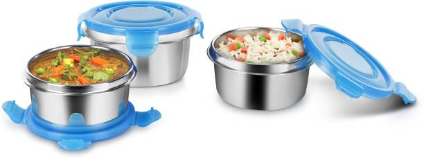 Classic Essentials Classic Essential Clip Lunch Box Set of 3, 300ml, 10 cm Dia, Blue (3) 3 Containers Lunch Box
