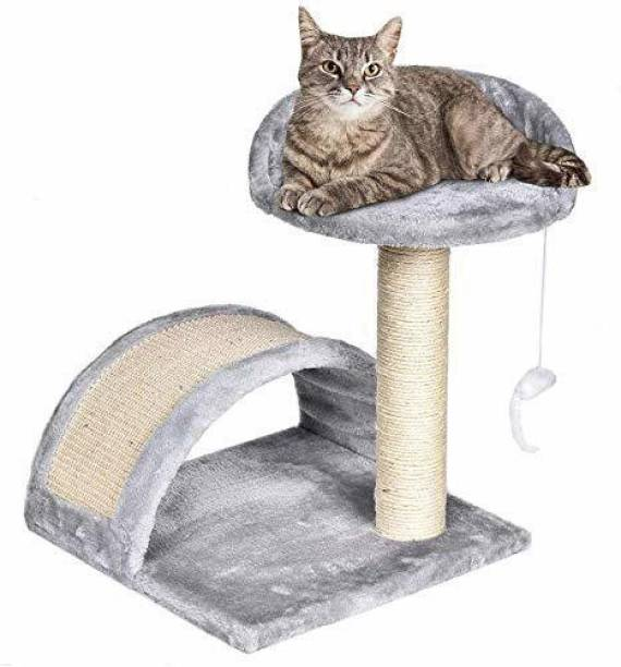 Pooch Box Small Cat Tree Sisal Scratching Post Furniture Playhouse Pet Bed Kitten Toy Cat Tower Condo for Kittens Free Standing Cat Tree