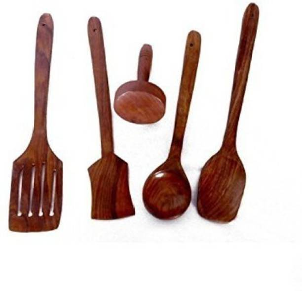 Green Wood Wooden Non-Stick A to Z Multipurpose Serving and Cooking Spoon Wooden Serving Spoon Set