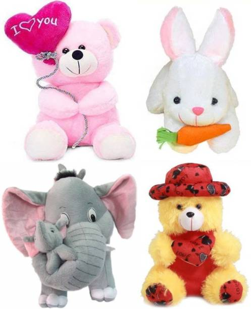 Ziraat Pack of 4 Mother Elephant, Rabbit, Ballon Teddy and Cute Cap teddy  - 25 cm