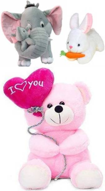 Ziraat Pack of 3 Cute Mother Elephant With Rabbit And Ballon Teddy  - 25 cm