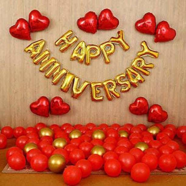 Anayatech Solid Anniversary combo-1 happy anniversary foil balloon,6 ed heart foil balloon,18 red balloon(pack of 40) Balloon