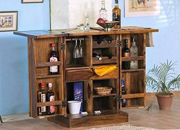Rjkart Solid Wood Bar Cabinet