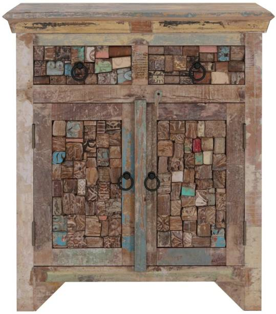 Saffron Solid Sheesham Wood Cabinet For Linving Room in Distress Finish Solid Wood Free Standing Cabinet