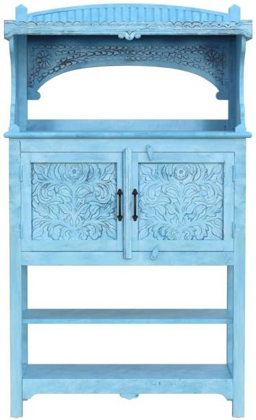 Saffron Solid Mango Wood Cabinet in Distress Finish Solid Wood Free Standing Cabinet