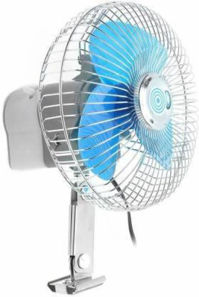 Ubom 2 Volt DC/15 Watt/1.4 Amp/6 Inch Auto Rotate + On/Off Switch + Wiring Set Portable Electric Oscillating Fan for Car, Auto, Caravan, Boat, Truck, Buses, Vehicle, Truck, Automobile Cooling Fan Clip On Fan blue Car Interior Fan