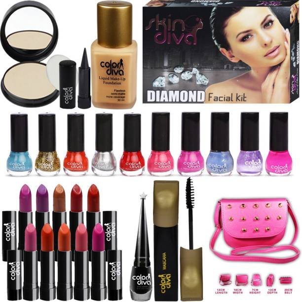 Color Diva Makeup Combo Sets With Skin Diva Skin Care Facial Kit Pack of 23 GC-453A