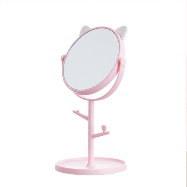 pepplo Cat Shape Makeup Mirror Shaving Mirror,Free Standing Table Vanity Mirror on Stand with Rotation