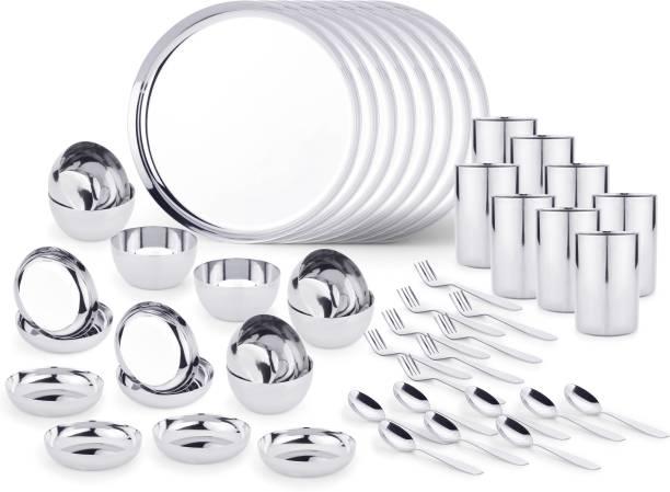 LIMETRO STEEL Pack of 48 Steel Stainless Steel High Quality 48 pcs Dinner Set (8 Dinner Plates, 8 Halva Plates, 8 Bowl/ Wati, 8 Glasses, 8 Spoons, 8 Forks, ) Dinner Set