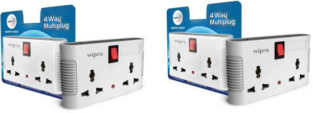 Wipro NWM0100 North West 4 Way Multiplug Three Pin Plug (White) - Pack of 2 North West 4 Way Multiplug Three Pin Plug (White) - Pack of 2 Three Pin Plug