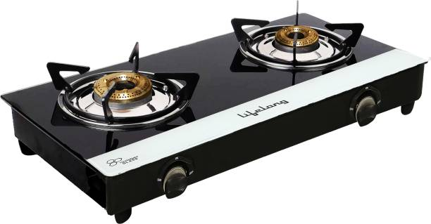 Lifelong Glass Top 2 Burner Gas Stove, Black and White (ISI Certified,1 Year Warranty with Doorstep Service) Glass Manual Gas Stove