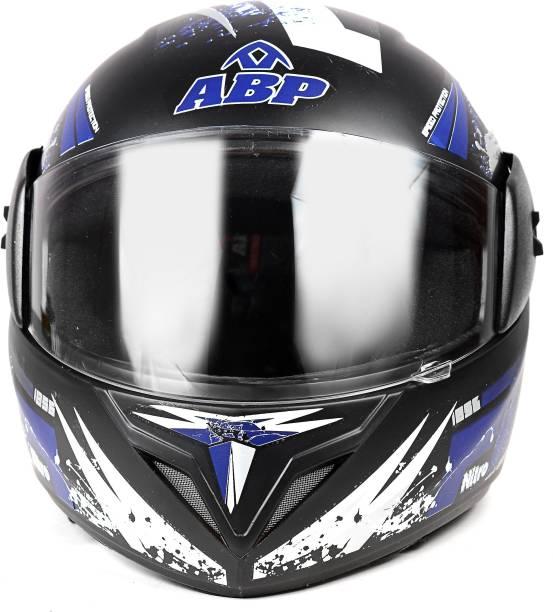 ABP NITRO MOTORCYCLE FULL PRINT BLACK WITH BLUE ISI MARK MOTORBIKE HELMET Motorbike Helmet