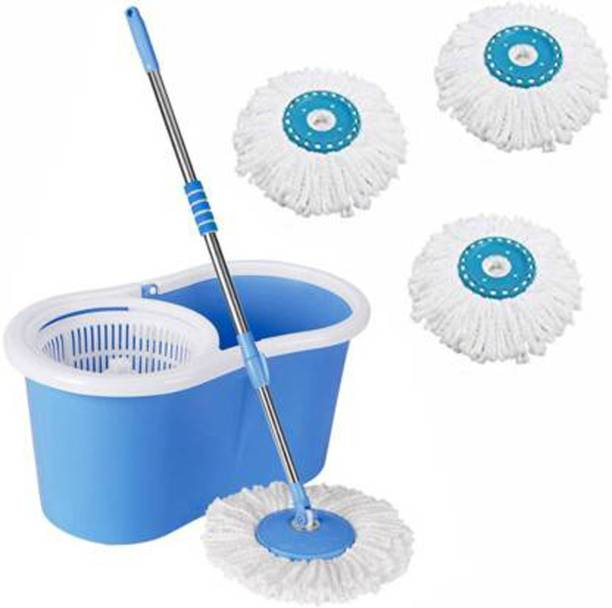 CREZON 360 Degree Self Spin Wringing With 3 Super Absorbers Mop Set, Bucket, Mop, Mop Refill