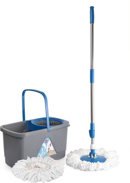 cello Kleeno Total Clean 360 Degree Bucket Spin Mop with 1 Extra Micro Fiber Refill Mop