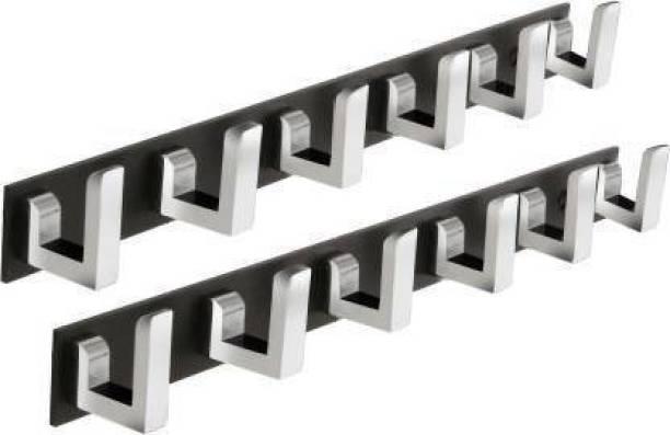 Savorier Classic Black Stainless Steel 6 Pin Cloth Hanger Bathroom Kitchen Wall Wardrobe Door Hooks For Hanging keys,Clothes Holder Hook Rail