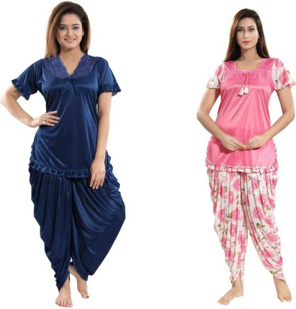 Classic Art Women Printed, Solid Pink, Dark Blue Top & Pyjama Set