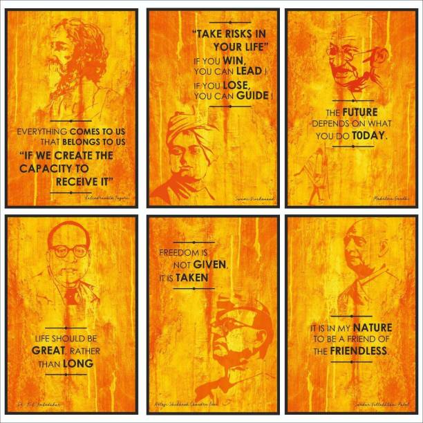 Freedom Fighter Inspirational Motivational Self Adhesive Wall Posters For Home & Office Decor (Orange) - Set of 6 Paper Print