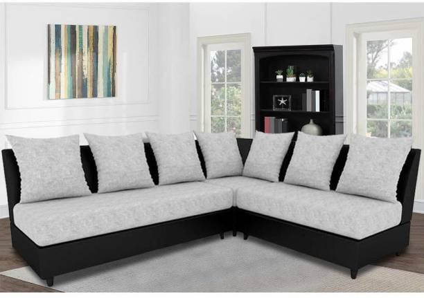 FURNY Algeria Interchangeable L Shaped Sofa Set Fabric 6 Seater  Sofa