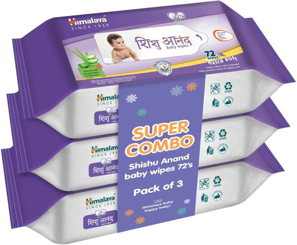 HIMALAYA Shishu Anand Baby Wipes (72 Count, Pack of 3)