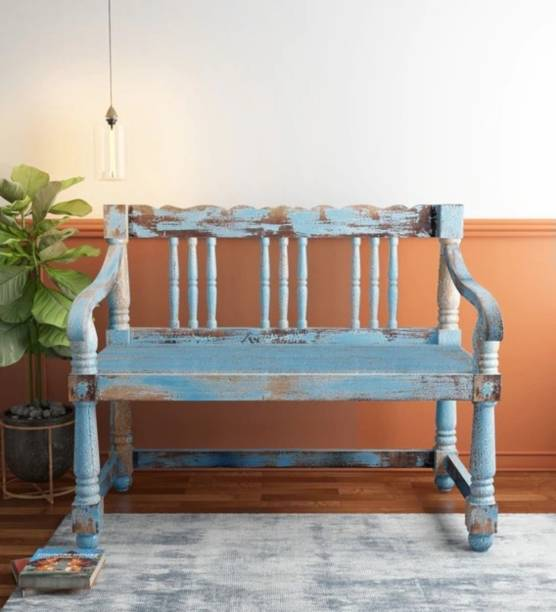 Saffron Solid Wood , Mango Wood Settee in Blue Distress Finish Solid Wood 2 Seater