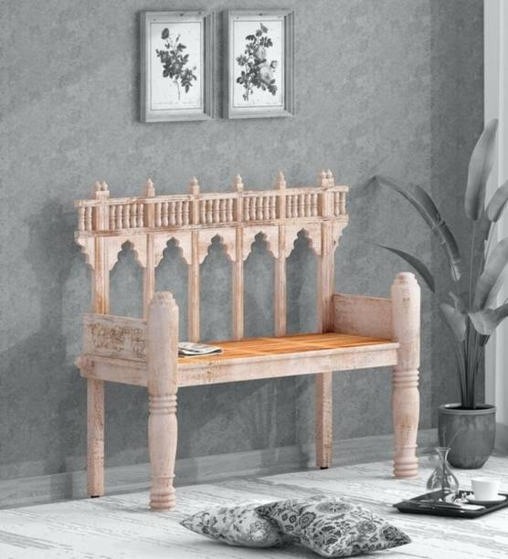 Saffron Solid Wood , Mango Wood Settee in White Distress Finish Solid Wood 2 Seater