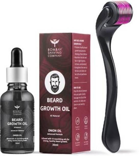 BOMBAY SHAVING COMPANY Beardinator Basics, Beard Growth Kit with 0.5mm, 540 titanium needle Beard Activator and Onion Beard Growth Oil (30ml) AMBZ (2 Items in the set)