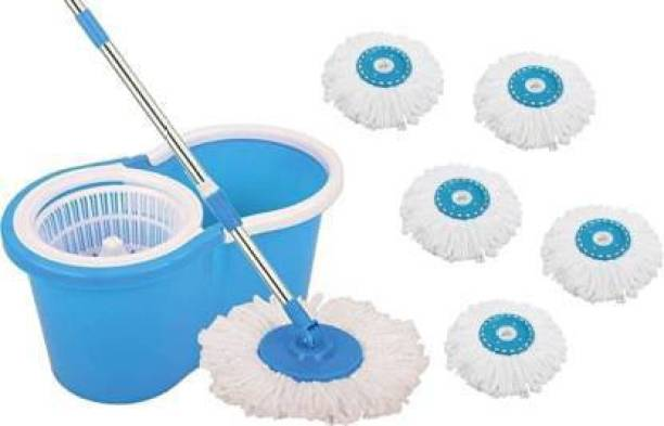 Tankit 360 degree Spin Mop With 6 Refills, Durable Bucket With Extendable Handle- For Perfect Cleaning Mop Set, Mop Mop, Bucket, Mop Refill