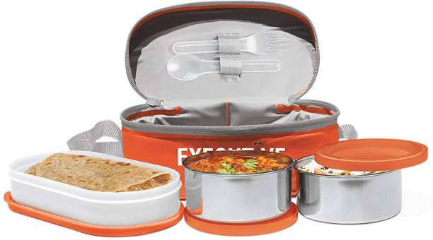 MILTON Orange Executive lunch insulated tiffin 3 Containers Lunch Box