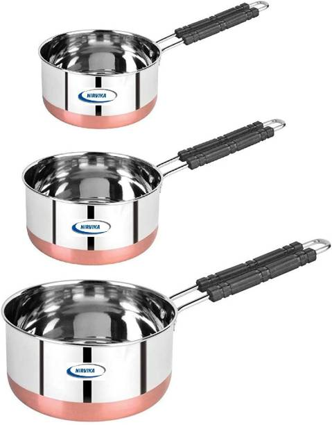 Nirvika Stainless Steel Copper bottom Sauce Pan / MILK PAN / TEA PAN 3 pcs 22 gauge COMBO SET Capacity:- 1, 1.5, 2 Liter Milk Pan 15.5 cm, 17 cm, 18.5 cm diameter
